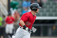Zach Remillard (23) of the Kannapolis Intimidators rounds first base during the game against the Charleston RiverDogs at Kannapolis Intimidators Stadium on August 3, 2016 in Kannapolis, North Carolina.  The Intimidators defeated the RiverDogs 8-4.  (Brian Westerholt/Four Seam Images)