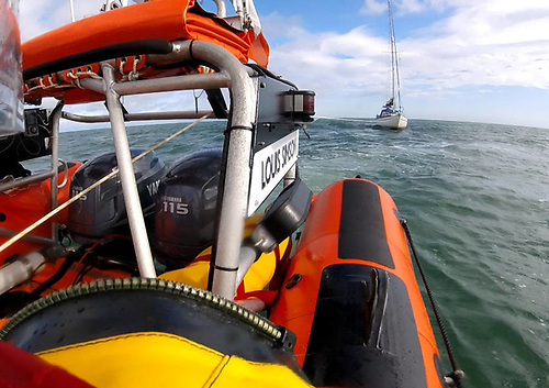 Skerries RNLI towing the yacht to safety