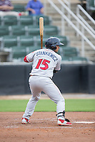 Drew Stankiewicz (15) of the Lakewood BlueClaws at bat against the Kannapolis Intimidators at Intimidators Stadium on July 14, 2015 in Kannapolis, North Carolina.  The Intimidators defeated the BlueClaws 8-2.  (Brian Westerholt/Four Seam Images)