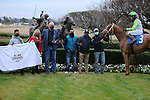 January 23, 2021: Getridofwhatailesu (3) with jockey Joseph Rocco, Jr. aboard in the winners circle after the running of the Pippin Stakes at Oaklawn Racing Casino Resort in Hot Springs, Arkansas. ©Justin Manning/Eclipse Sportswire/CSM