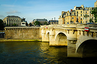 Pont Neuf, in Paris, capital of France. This is the oldest bridge across the Seine river in Paris. It stands by the western point of the Cité island and it connects the Rive Gauche of Paris and the Rive droite.
