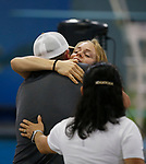 Approximately 200 supporters attend a homecoming celebration for Olympic diver Krysta Palmer and her coach Jian Li You at the Carson Valley Swim Center, in Minden, Nev., on Sunday, Aug. 8, 2021. Palmer, who grew up in Northern Nevada, won bronze in the women's individual 3m springboard event in Tokyo last week.  <br /> Photo by Cathleen Allison