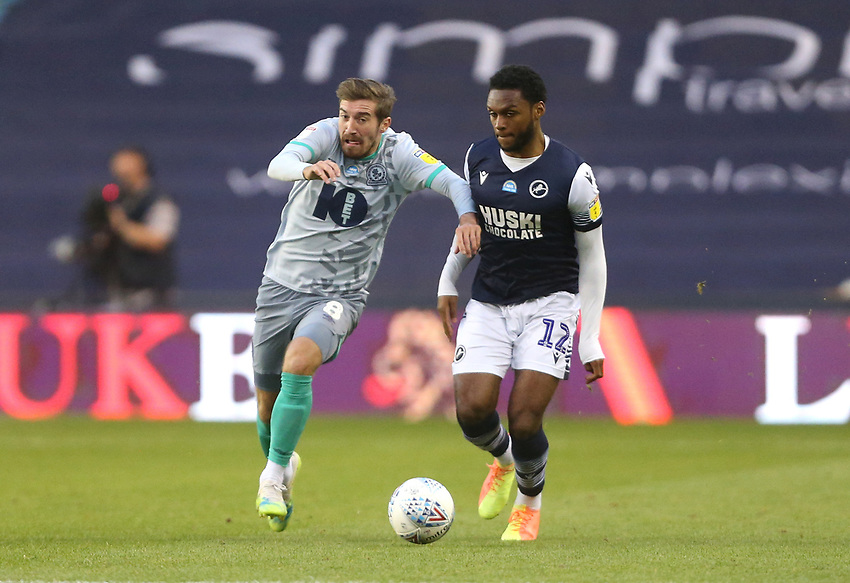 Blackburn Rovers' Joe Rothwell and Millwall's Mahlon Romeo<br /> <br /> Photographer Rob Newell/CameraSport<br /> <br /> The EFL Sky Bet Championship - Millwall v Blackburn Rovers - Tuesday July 14th 2020 - The Den - London<br /> <br /> World Copyright © 2020 CameraSport. All rights reserved. 43 Linden Ave. Countesthorpe. Leicester. England. LE8 5PG - Tel: +44 (0) 116 277 4147 - admin@camerasport.com - www.camerasport.com