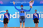 Filippo Ganna (ITA) Ineos Grenadiers retains the mountains Maglia Azzurra at the end of Stage 7 of the 103rd edition of the Giro d'Italia 2020 running 143km from Matera to Brindisi, Sicily, Italy. 9th October 2020.  <br /> Picture: LaPresse/Gian Mattia D'Alberto | Cyclefile<br /> <br /> All photos usage must carry mandatory copyright credit (© Cyclefile | LaPresse/Gian Mattia D'Alberto)