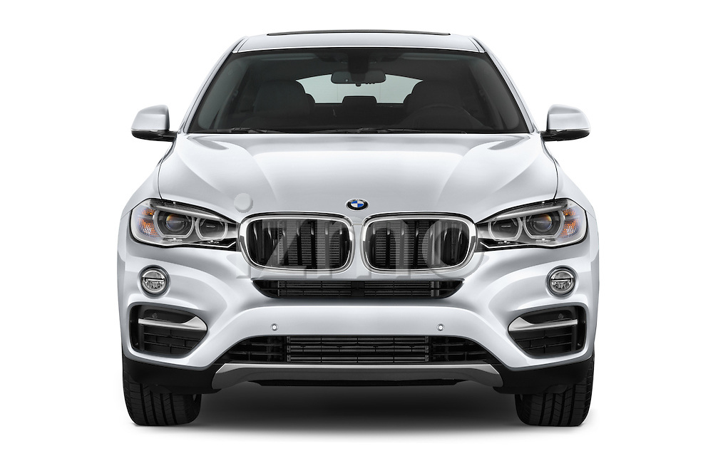 Car photography straight front view of a 2015 BMW X6 sDrive35i 5 Door SUV Front View