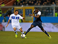 GENOVA, ITALY - February 29, 2012: Claudio Marchiso (l, ITA), Jozy Altidore (r,USA) during the USA friendly match against Italy at the Stadium Luigi Ferraris in Genova, Italy.