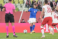11th October 2020, The Stadion Energa Gdansk, Gdansk, Poland; UEFA Nations League football, Poland versus Italy; FRANCESCO ACERBI plays the ball up the wing