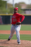 Los Angeles Angels relief pitcher Mayky Perez (90) during a Minor League Spring Training game against the Colorado Rockies at Tempe Diablo Stadium Complex on March 18, 2018 in Tempe, Arizona. (Zachary Lucy/Four Seam Images)