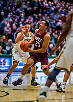 8 December 2018: Harvard University Crimson Guard Justin Bassey, a Junior from Denver, CO, in action against the University of Vermont Catamounts in Men's Basketball at Patrick Gymnasium in Burlington, Vermont. The America East Catamounts overcame a 10-point 2nd half deficit, to defeat the Ivy League Crimson 71-65 in NCAA Division I inter-league play. Mandatory Credit: Ed Wolfstein Photo *** RAW (NEF) Image File Available ***