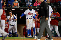 Buffalo Bisons Roemon Fields (37) celebrates taking the lead during a game against the Pawtucket Red Sox on August 31, 2017 at Coca-Cola Field in Buffalo, New York.  Buffalo defeated Pawtucket 4-2.  (Mike Janes/Four Seam Images)