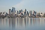Seattle, Lake Union, South Lake Union, skyline, high rise buildings, water reflection, USA, Washington State,