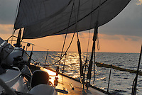 - leisure sailing boat in navigation on the Southern Mediterranean sea ....- barca a vela da diporto in navigazione nel mare Mediterraneo Meridionale