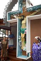 REPUBLIC OF MOLDOVA, Gagauzia, Vulcanesti, 2009/06/29..Christ on the cross in front of the little church of Vulcanesti. The Gagauz are turkophones but Orthodox Christians. They recognize the authority of the autocephalous Church of Bulgaria..© Bruno Cogez / Est&Ost Photography..République Moldave, Gagaouzie, Vulcanesti, 29/06/2009..Le Christ en croix devant la petite eglise de Vulcanesti. Les Gagaouzes sont turkophones mais de religion chretienne orthodoxe. Ils reconnaissent l'autorite de l'Eglise autocephale de Bulgarie..© Bruno Cogez / Est&Ost Photography