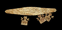 Mycenaean Gold diadems and cut outs from Grave IV, Grave Circle A, Myenae, Greece. National Archaeological Museum Athens. 16th Cent BC.<br /> <br /> Top: Mycenaean Gold diadem with repousse circles and rosettes Cat No 234<br /> <br /> Bottom . Gold cut outs depicting tripartite shrines crowned with horns of consecration and birds. Cat No 242-244