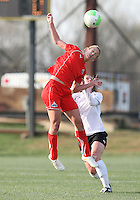 Beverly Goebel #6 of the Washington Freedom wins a header from Jennifer Buczowski #4  of the Philadelphia Independence during a WPS pre season match at the Maryland Soccerplex on March 27 2010 in Boyds, maryland