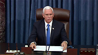 In this image from United States Senate television, US Vice President Mike Pence makes remarks as the US Senate reconvenes to resume debate on the Electoral Vote count following the violence in the US Capitol in Washington, DC on Wednesday, January 6, 2021.<br /> Mandatory Credit: US Senate Television via CNP/AdMedia