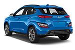 Car pictures of rear three quarter view of 2021 Hyundai Kona-EV Sky 5 Door SUV Angular Rear