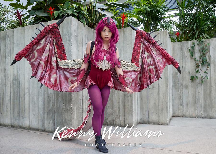 Pink Rathian Dragon of Monster Hunter cosplay by beautiful asian girl, Pax Prime 2015, Seattle, Washington State, WA, America, USA.