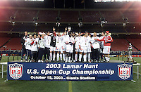 U.S. Open Cup, Chicago Fire, with Lamar Hunt Trophy,10/15/03.