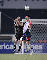 Atlante FC forward Luis Gabriel Rey(11) goes up to head the ball against DC United defender Bryan Namoff (26), Atlante FC defeated DC United 3-2, in the first round of the SuperLiga Tournament, Tuesday July 15, 2008 at Robert F. Kennedy Memorial Stadium.