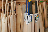 BNPS.co.uk (01202) 558833<br /> Pic: ZacharyCulpin/BNPS<br /> <br /> The stages of making a bat from willow to the finished product.<br /> <br /> Master bat maker Tim Keeley is putting the finishing touches to his beautifully hand-crafted pieces of willow ahead of the forthcoming cricket season.<br /> <br /> Tim, 62, has made almost half a million bats since starting out as an apprentice at Gray Nicholls aged 16 in 1975.<br /> <br /> He is the founder of family business Keeley Cricket, in Battle, East Sussex, which he runs with his brother Nick who has 35 years of bat-making experience.