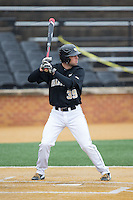 Nick Bisplinghoff (39) of the Wake Forest Demon Deacons at bat against the Towson Tigers at Wake Forest Baseball Park on March 1, 2015 in Winston-Salem, North Carolina.  The Demon Deacons defeated the Tigers 15-8.  (Brian Westerholt/Four Seam Images)