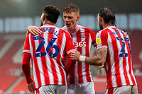 21st November 2020; Bet365 Stadium, Stoke, Staffordshire, England; English Football League Championship Football, Stoke City versus Huddersfield Town; Captain Sam Clucas of Stoke City celebrate the second goal with Tyrese Campbell and Steven Fletcher