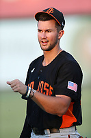 Gio Brussa (26) of the San Jose Giants before a game against the Inland Empire 66ers at LoanMart Field on August 30, 2017 in San Bernardino California. San Jose defeated Inland Empire, 3-0. (Larry Goren/Four Seam Images)