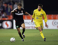 7 May 2005.  DC United's Jaime Moreno (99) tries to keep possession of the ball away from Columbus' Kyle Martino (1) at RFK Stadium in Washington, DC.