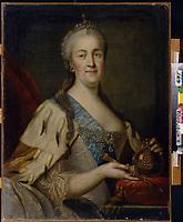 Portrait of Empress Catherine II (1729-1796)<br /> Artist: Sablukov, Ivan Semyonovich(1735-1777)<br /> Museum:State Art Museum, Nizhny Novgorod<br /> Method:Oil on canvas<br /> Created:1770s<br /> School:Russia<br /> Category:Portrait<br /> Tsar's Family. House of Romanov<br /> Trend in art:Russian Art of 18th cen.