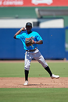 Miami Marlins shortstop Jazz Chisholm (1) throws to first base during an Instructional League game against the Washington Nationals on September 26, 2019 at FITTEAM Ballpark of The Palm Beaches in Palm Beach, Florida.  (Mike Janes/Four Seam Images)