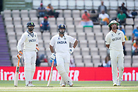Rishabh Pant, India looks relaxed as he waits for the decision review against him. Ravindra Jadeja, India and Colin de Granhomme, New Zealand look on during India vs New Zealand, ICC World Test Championship Final Cricket at The Hampshire Bowl on 23rd June 2021
