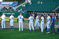 The Ogden Raptors celebrate their Game 1 win in the South Division Championship Series over the Orem Owlz at Lindquist Field on September 10, 2017 in Ogden, Utah. Ogden defeated Orem 9-4. (Stephen Smith/Four Seam Images)