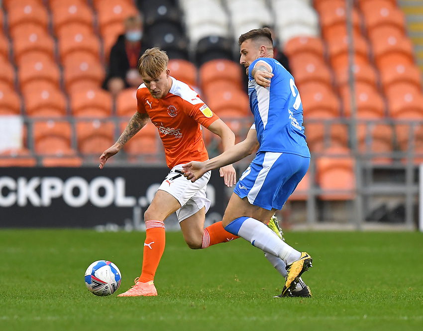 Blackpool's Teddy Howe<br /> <br /> Photographer Dave Howarth/CameraSport<br /> <br /> EFL Trophy Northern Section Group G - Blackpool v Barrow - Tuesday 8th September 2020 - Bloomfield Road - Blackpool<br />  <br /> World Copyright © 2020 CameraSport. All rights reserved. 43 Linden Ave. Countesthorpe. Leicester. England. LE8 5PG - Tel: +44 (0) 116 277 4147 - admin@camerasport.com - www.camerasport.com