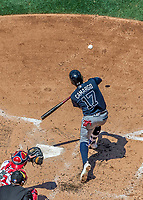 9 July 2017: Atlanta Braves infielder Johan Camargo in action against the Washington Nationals at Nationals Park in Washington, DC. The Nationals defeated the Braves to split their 4-game series. Mandatory Credit: Ed Wolfstein Photo *** RAW (NEF) Image File Available ***