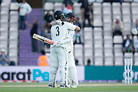 Ross Taylor, New Zealand and Kane Williamson, New Zealand start the celebrations as New Zealand in the WTC Final during India vs New Zealand, ICC World Test Championship Final Cricket at The Hampshire Bowl on 23rd June 2021