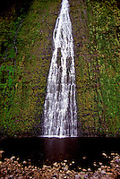 A beautiful cascading waterfall pours into a pool at the base of a lush green mountain in North Kona on the Big Island of Hawaii.