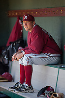 LOS ANGELES, CA - April 10, 2011: Dean McArdle of Stanford baseball sits in the dugout before his start in Stanford's game against USC at Dedeaux Field in Los Angeles. Stanford lost 6-2.
