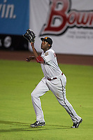 Salt River Rafters outfielder Gabby Guerrero (15) catches a fly ball during an Arizona Fall League game against the Scottsdale Scorpions on October 14, 2015 at Scottsdale Stadium in Scottsdale, Arizona.  Scottsdale defeated Salt River 13-3.  (Mike Janes/Four Seam Images)