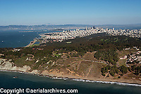 aerial photograph of Baker Beach, Presidio, San Francisco, California with the San Francisco skyline in the background