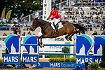 October 17, 2021: Hawley Bennett-Awad (CAN), aboard Jollybo, competes during the Stadium Jumping Final at the 5* level during the Maryland Five-Star at the Fair Hill Special Event Zone in Fair Hill, Maryland on October 17, 2021. Jon Durr/Eclipse Sportswire/CSM