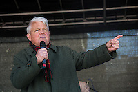 """Bruce Kent (British political activist; Vice President Pax Christi; active in the Campaign for Nuclear Disarmament CND, he now holds the honorary title of vice-president).<br /> <br /> London, 22/03/2014. """"Stand Up To Racism & fascism - No to Scapegoating Immigrants, No to Islamophobia, Yes to Diversity"""", national demo marking UN Anti-Racism Day organised by TUC (Trade Union Congress) and UAF (Unite Against Fascism).<br /> <br /> For more information please click here: http://www.standuptoracism.org.uk/"""
