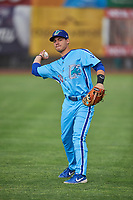 Jimmy Titus (40) of the Ogden Raptors before the game against the Orem Owlz at Lindquist Field on June 20, 2019 in Ogden, Utah. The Owlz defeated the Raptors 11-8. (Stephen Smith/Four Seam Images)