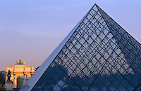 France, Paris, The Louvre, Pyramid by I M Pei and the Arc de Triumphe de Carrousal
