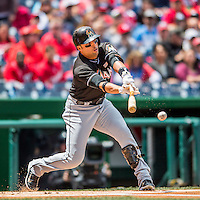 15 May 2016: Miami Marlins third baseman Martin Prado connects during a game against the Washington Nationals at Nationals Park in Washington, DC. The Marlins defeated the Nationals 5-1 in the final game of their 4-game series.  Mandatory Credit: Ed Wolfstein Photo *** RAW (NEF) Image File Available ***