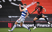 17th October 2020; Vitality Stadium, Bournemouth, Dorset, England; English Football League Championship Football, Bournemouth Athletic versus Queens Park Rangers; Dominic Solanke of Bournemouth shoots at goal under pressure from Rob Dickie of Queens Park Rangers