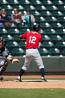 Eric Garcia (12) of the Carolina Mudcats at bat against the Winston-Salem Dash at BB&T Ballpark on April 22, 2015 in Winston-Salem, North Carolina.  The Dash defeated the Mudcats 4-2..  (Brian Westerholt/Four Seam Images)