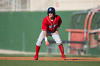 Mickey Moniak (22) of the Lakewood BlueClaws takes his lead off of first base against the Kannapolis Intimidators at Kannapolis Intimidators Stadium on April 9, 2017 in Kannapolis, North Carolina.  The BlueClaws defeated the Intimidators 7-1.  (Brian Westerholt/Four Seam Images)