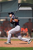 Colorado Rockies Max George (18) hits a home run during an Instructional League game against the San Francisco Giants on October 8, 2016 at the Giants Baseball Complex in Scottsdale, Arizona.  (Mike Janes/Four Seam Images)