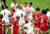 Jamie Blamire (Newcastle Falcons) of England celebrates his 2nd try during the Autumn International match between England and Canada at Twickenham Stadium, London, England on 10 July 2021. Photo by Liam McAvoy.